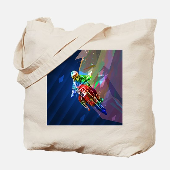 Super Crayon Colored Dirt Bike Leaning In Tote Bag