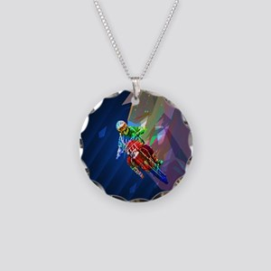 Super Crayon Colored Dirt Bi Necklace Circle Charm