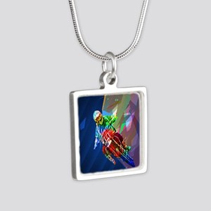 Super Crayon Colored Dirt Bike Leaning I Necklaces