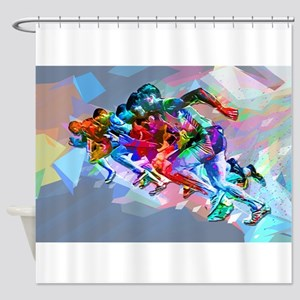 Super Crayon Colored Sprinters Shower Curtain