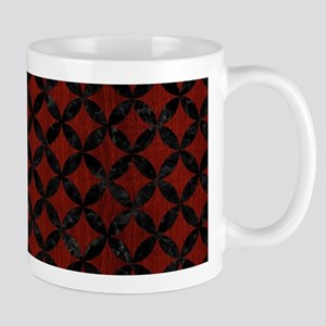 CIRCLES3 BLACK MARBLE & RED WOOD 11 oz Ceramic Mug