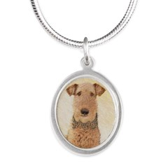 Airedale Terrier Silver Oval Necklace