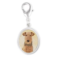 Airedale Terrier Silver Oval Charm