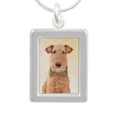 Airedale Terrier Silver Portrait Necklace