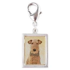 Airedale Terrier Silver Portrait Charm