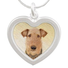 Airedale Terrier Silver Heart Necklace