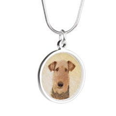 Airedale Terrier Silver Round Necklace