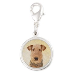 Airedale Terrier Silver Round Charm