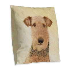 Airedale Terrier Burlap Throw Pillow