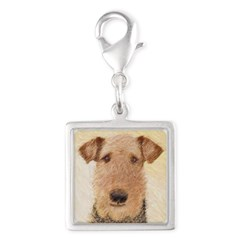Airedale Terrier Silver Square Charm