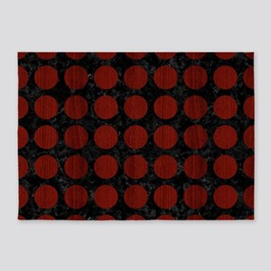 CIRCLES1 BLACK MARBLE & RED WOOD (R 5'x7'Area Rug