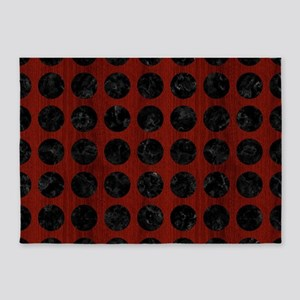 CIRCLES1 BLACK MARBLE & RED WOOD 5'x7'Area Rug
