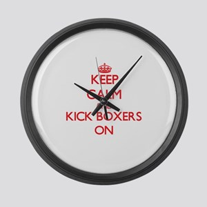 Keep Calm and Kick Boxers ON Large Wall Clock