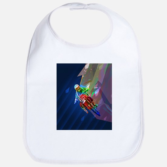 Super Crayon Colored Dirt Bike Leaning In Baby Bib
