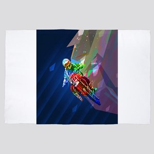 Super Crayon Colored Dirt Bike Leaning 4' x 6' Rug
