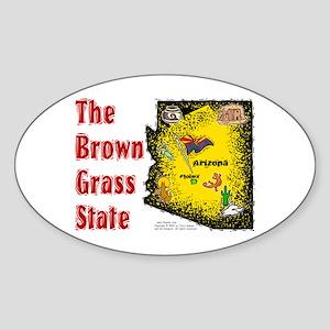 AZ-Brown Grass! Oval Sticker