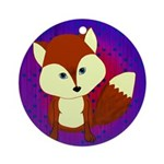 Red Fox on Purple Ornament (Round)
