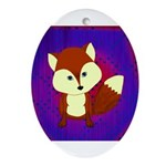 Red Fox on Purple Ornament (Oval)