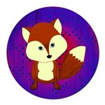Red Fox on Purple Round Car Magnet