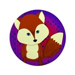 Red Fox on Purple Button