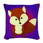 Red Fox on Purple Woven Throw Pillow
