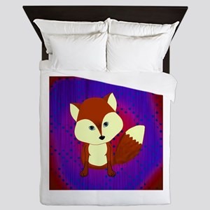 Red Fox on Purple Queen Duvet