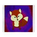 Red Fox on Purple Throw Blanket