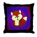 Red Fox on Purple Throw Pillow