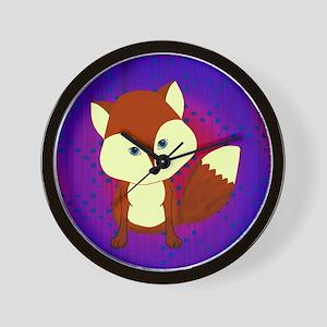 Red Fox on Purple Wall Clock