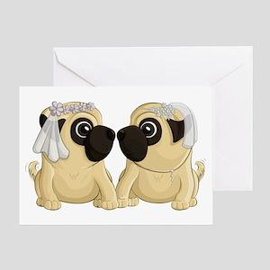 Pug Brides Greeting Cards