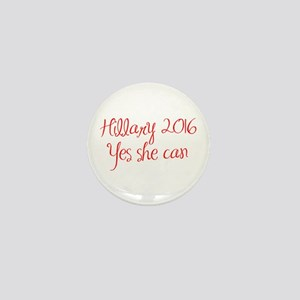 Hillary 2016 Yes she can-MAS red 400 Mini Button