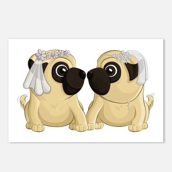 Pug Brides Postcards (Package of 8)