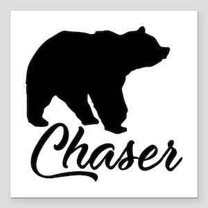"Bear Chaser Square Car Magnet 3"" X 3"""