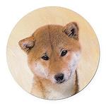 Shiba Inu (Red) Round Car Magnet