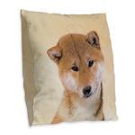 Shiba Inu (Red) Burlap Throw Pillow