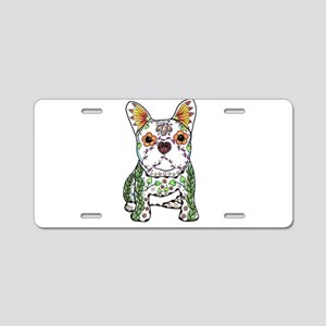 Sugar Skull Frenchie Aluminum License Plate