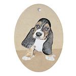 Basset Hound Puppy Oval Ornament