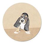 Basset Hound Puppy Round Car Magnet