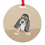 Basset Hound Puppy Round Ornament