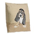 Basset Hound Puppy Burlap Throw Pillow