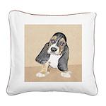 Basset Hound Puppy Square Canvas Pillow