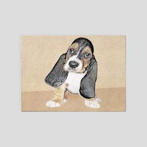 Basset Hound Puppy 5'x7'Area Rug