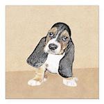 Basset Hound Puppy Square Car Magnet 3