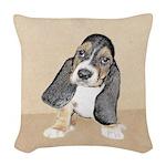 Basset Hound Puppy Woven Throw Pillow