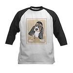Basset Hound Puppy Kids Baseball Tee