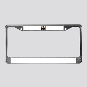 Sepia Flower Collage License Plate Frame
