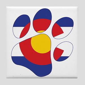 Colorado Paw Print Tile Coaster