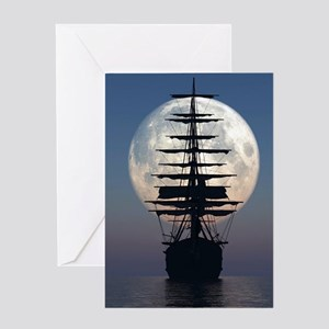 Ship Sailing In The Night Greeting Cards