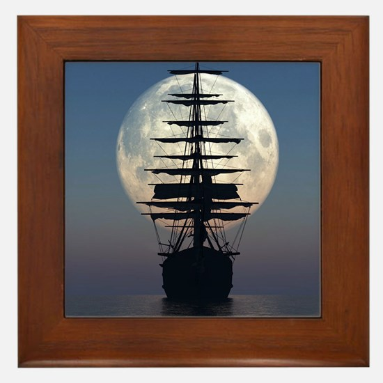Ship Sailing In The Night Framed Tile