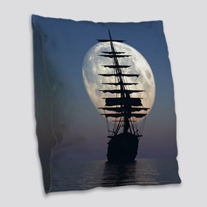 Ship Sailing In The Night Burlap Throw Pillow